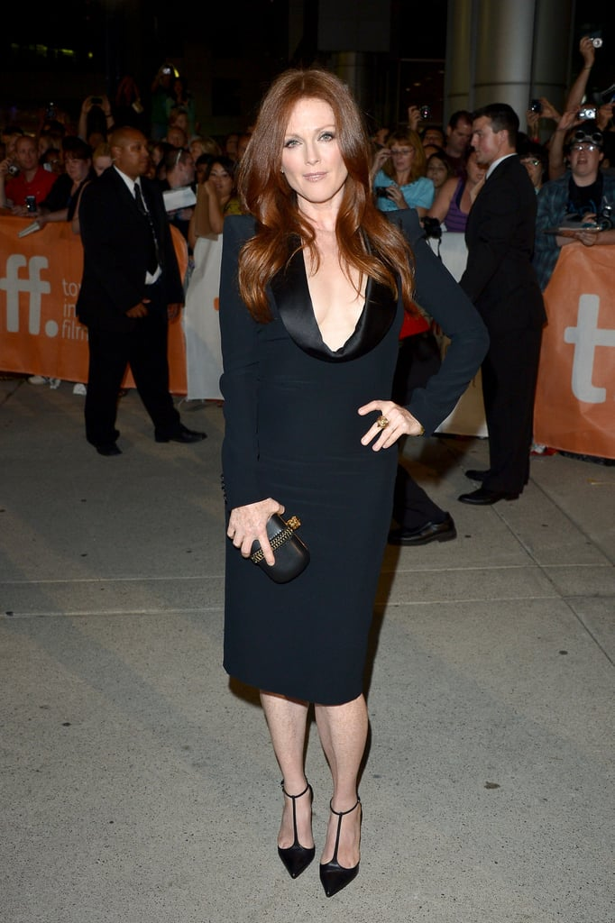 Julianne Moore's look may be all black, but it's hardly basic. The actress styled up an Alexander McQueen dress with a pair of Christian Louboutin t-bar heels for added interest below the ankles.