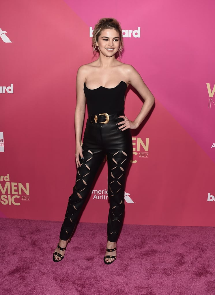 Selena Gomez Versace Leather Outfit Billboard Music Awards