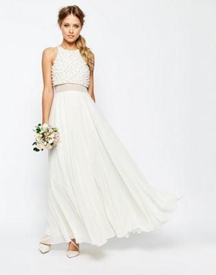 Asos Bridal Pearl Crop Top Maxi Dress