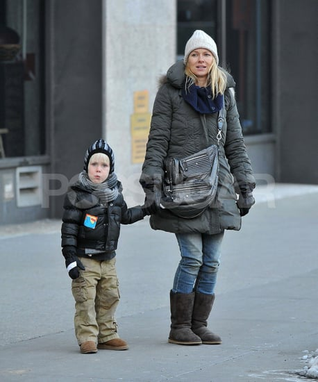 Pictures of Naomi Watts with Sasha Schreiber in NYC