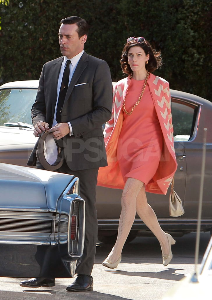 Jon Hamm and Jessica Paré on the Mad Men set in LA.