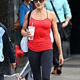 Cameron Diaz sported sunglasses and her hair pulled up.