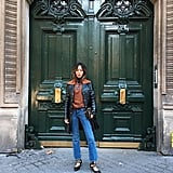 A Two-Toned Collared Jacket, Fancy Flats, and Jeans
