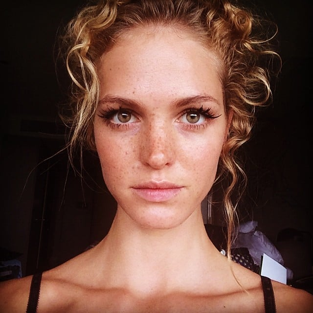 Model Erin Heatherton posted this selfie of her false eyelashes, but all we could see were her gorgeous freckles. Source: Instagram user erinheathertonlegit