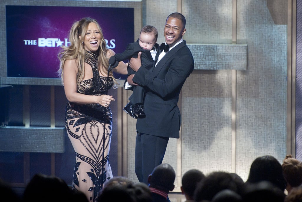 "Last night's BET Honors in Washington DC was a family affair for Mariah Carey and Nick Cannon. Mariah was recognized with the entertainer award and her husband, Nick, and son, Moroccan, presented her with the statue on stage. Moroccan's twin Monroe stayed backstage though, since Mariah joked, ""We were both sewn into our dresses, so she couldn't make it out."" Yesterday was Nick's first public appearance since being hospitalized for a kidney problem earlier this month.   Also on hand for the big event was Michelle Williams, who chatted with USA Today about her friends Beyoncé Knowles and Jay-Z's new addition. Michelle said of Blue Ivy Carter, ""She is absolutely gorgeous. We were all in love."" She added that Beyoncé and Jay-Z ""have already settled into their role of being parents, and it's just awesome to see."""