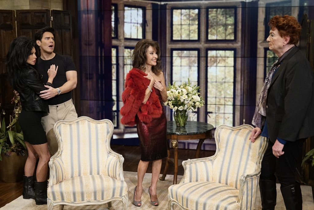 The All My Children cast has a new look with Susan Lucci as Erica Kane, Art Moore as Farfel Fargate, Kelly Ripa as Hayley Vaughan, and Andy Cohen as Mateo Santos.