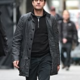 Joshua Jackson walked to the set of Fringe.