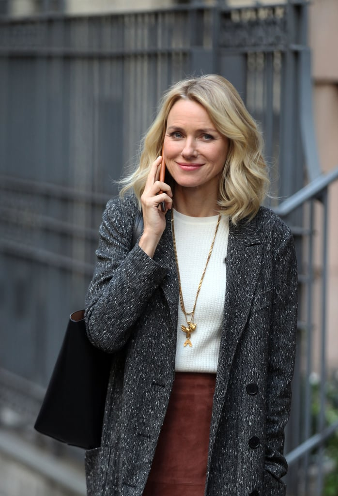 "Naomi Watts was spotted on the set of her new upcoming Netflix series Gypsy in NYC on Monday, the same day as it was revealed that she and her partner of 11 years, Liev Schreiber, were splitting. The Aussie actress appeared to be all smiles as she filmed scenes for the psychological thriller, in which she'll star as a therapist who begins to develop dangerous, intimate relationships with the people in her patients' lives.  Naomi and Liev announced their breakup in a statement that read, ""Over the past few months, we've come to the conclusion that the best way forward for us as a family is to separate as a couple. It is with great love, respect, and friendship in our hearts that we look forward to raising our children together and exploring this new phase of our relationship."" Though the two never married, they had been together since 2005 and share two sons, Alexander (who goes by Sasha) and Samuel. The couple last hit the red carpet together at the Toronto Film Festival earlier this month, but Liev recently brought Sasha as his date to the Emmys."
