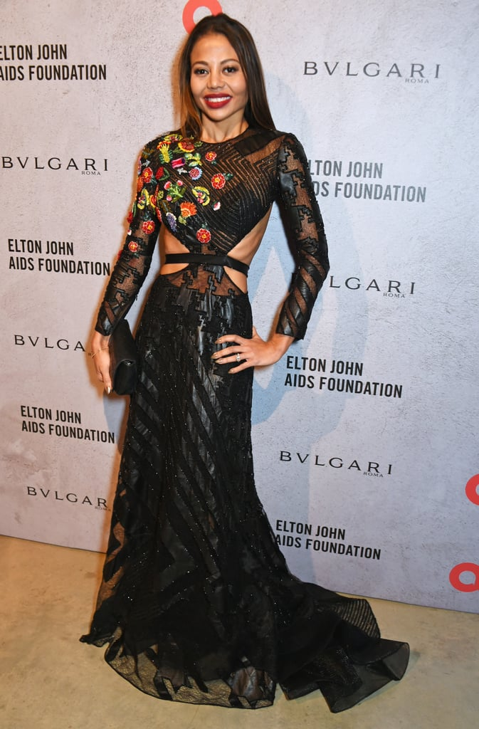 Wearing cutouts and floral details at a dinner for the Elton John Aids Foundation in 2016.