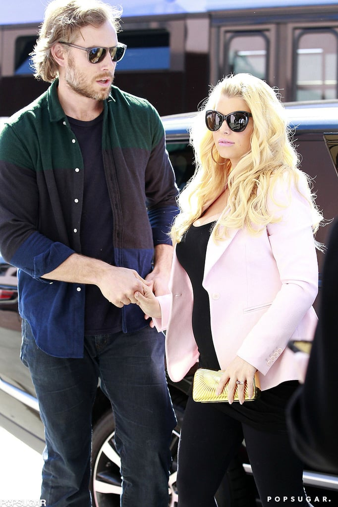 Jessica Simpson donned a pink blazer for a Valentine's Day lunch with fiancé Eric Johnson.