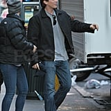 Christian Bale arrived on set and headed to his trailer to change.