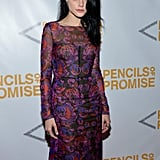 Jessica Stam rocked a long-sleeved, printed gown at the event.