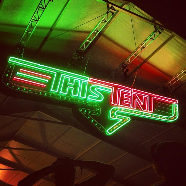 Neon lights guiding us to This Tent (as opposed to That Tent or The Other Tent). Source: Instagram user popsugarfashion