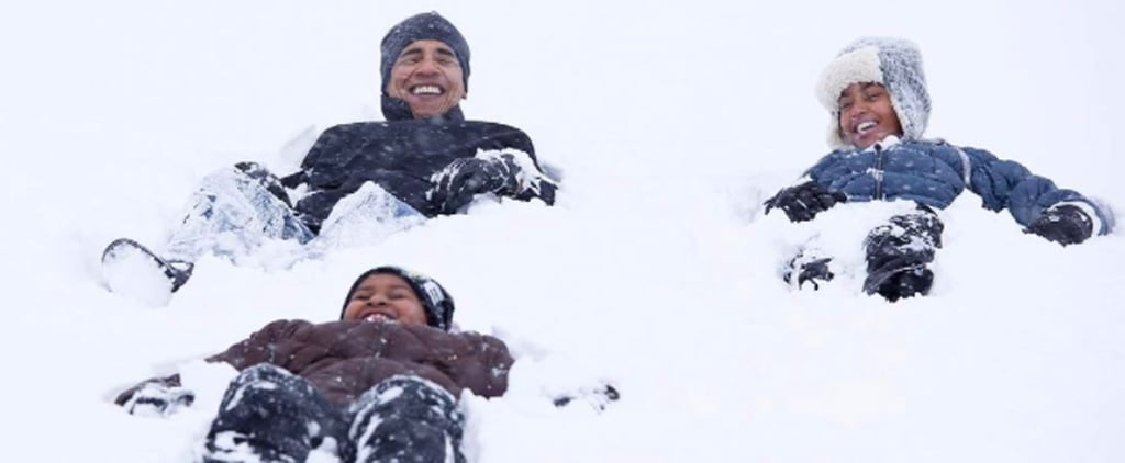 Photos of Barack Obama Playing in Snow With Sasha and Malia