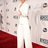 For the 2016 AMAs, Lady Gaga wore a white Brandon Maxwell suit complete with a matching cowboy hat.