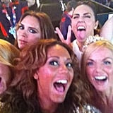 The Spice Girls posed for a photo before their closing ceremonies performance.  Source: Twitter user OfficialMelB