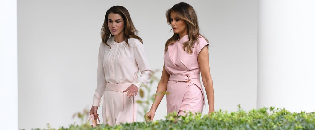 Melania Trump Pink Wrap Dress With Queen Rania 2018