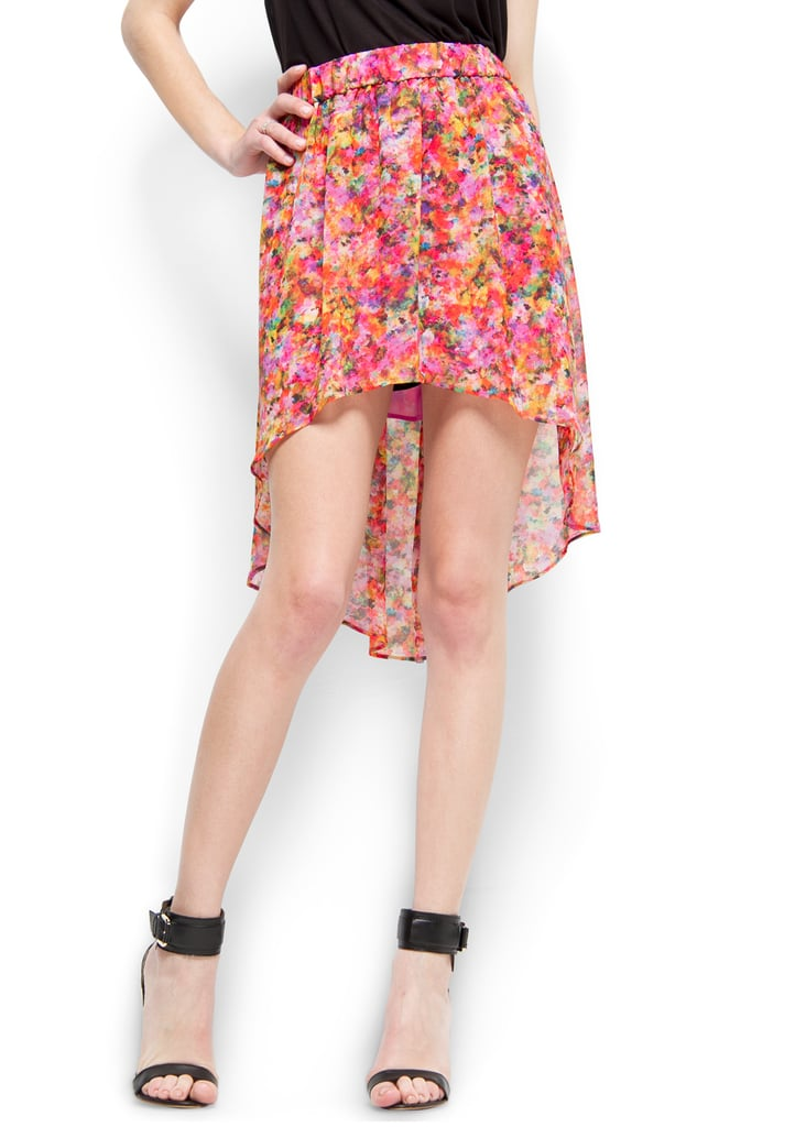 We love the floaty silhouette on this flowered skirt. Mango Floral Print Tail Hem Skirt ($60)