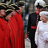 The queen greeted pensioners at Chelsea Pier.