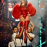 Jennifer Lopez was carried across the stage by dancers.