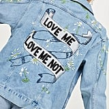 Topshop 'Love Me Not' Embroidered Denim Jacket