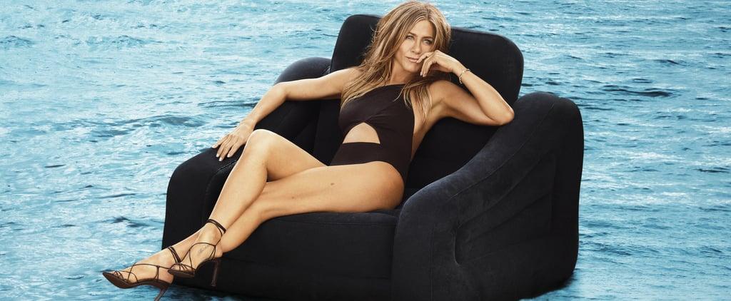 Jennifer Aniston Black Swimsuit in Harper's Bazaar 2019