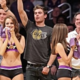 Zac Efron had fun hanging with the cheerleaders at an LA Lakers game in April 2011.