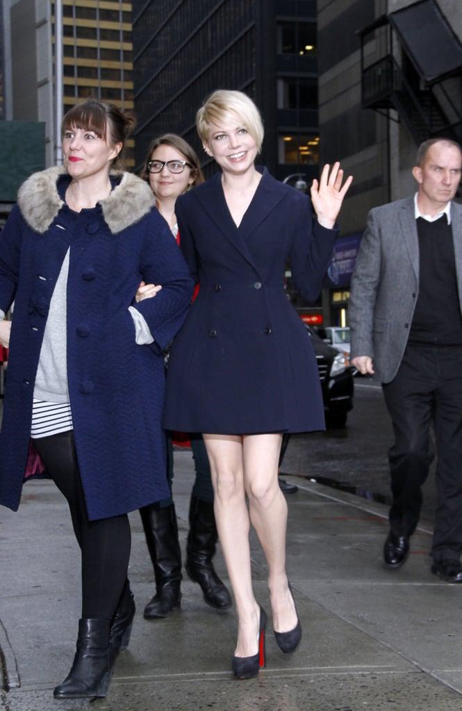 Michelle Williams in Navy Dior Blazer Dress