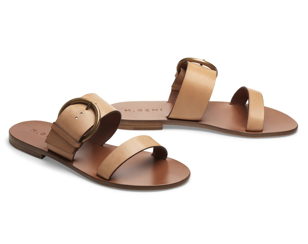 If you prefer neutral footwear, shop M.Gemi's Tramonto sandal ($178) with two thick straps, handmade with quality leather in Campania, Italy.