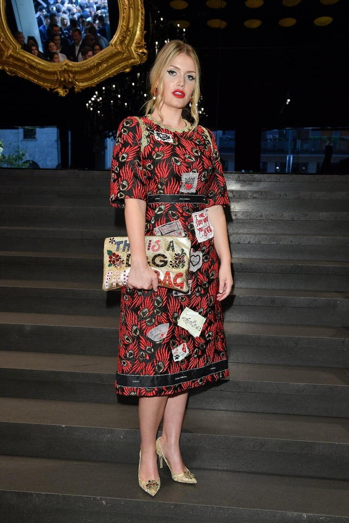 At the Dolce & Gabbana show during Milan Fashion Week in September 2017.