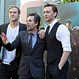 Tom Hiddleston, Mark Ruffalo, and Chris Hemsworth took a guys-only photo.