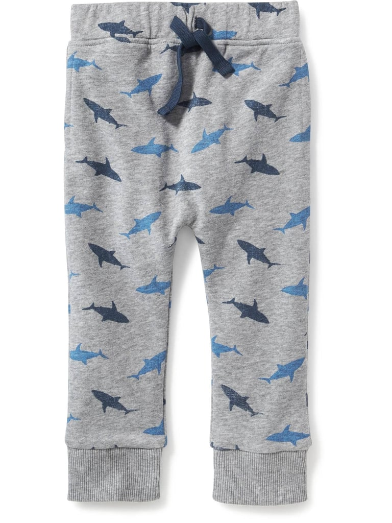 Shark-Patterned Drawstring Joggers