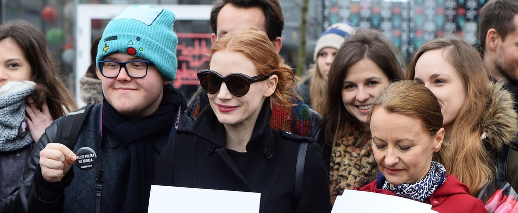 Jessica Chastain Celebrates International Women's Day at a Rally in Poland