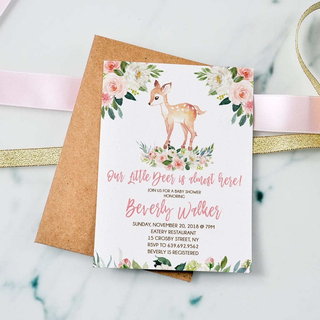 27adc585e Boho Floral Baby Shower Invitation