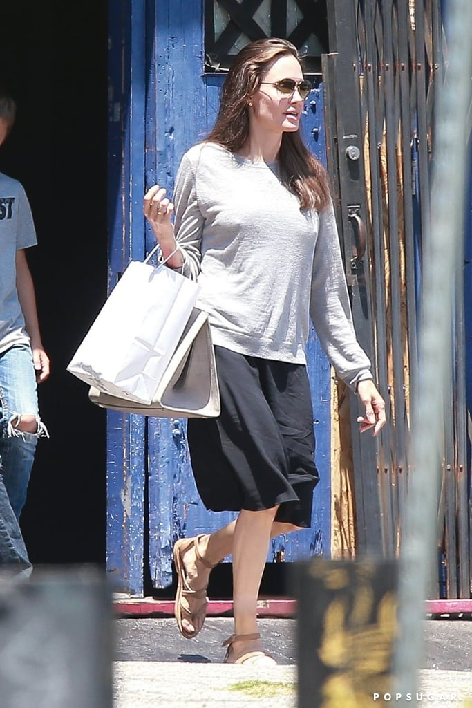 Angelina Jolie Neutral Ankle Strap Sandals