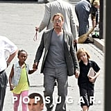 Brad Pitt took Shiloh and Zahara to the Moscow Film Festival on Friday.