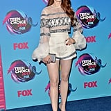 Wearing a Genny outfit, Stuart Weitzman shoes, and a Tyler Ellis bag at the 2017 Teen Choice Awards.