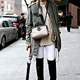 Caroline Issa proved just how chic white pants can be in the dead of Winter.