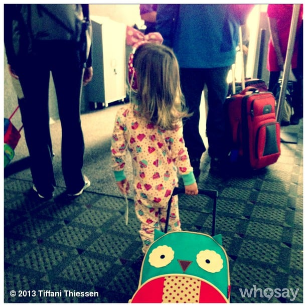 Harper Smith prepared to board a plane for an Easter visit with her cousins. Source: Instagram user tathiessen