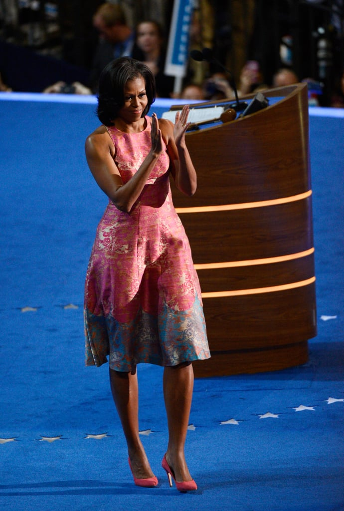 At the DNC in 2012, Michelle completed her Tanya Taylor dress with J.Crew's Everly suede pumps in rhubarb.