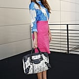 Pink and blue played off in the most ladylike of ways; then we get just a touch of edge via a Balenciaga bag.
