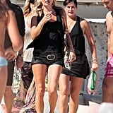 Kate Moss in all black while on Summer vacation.