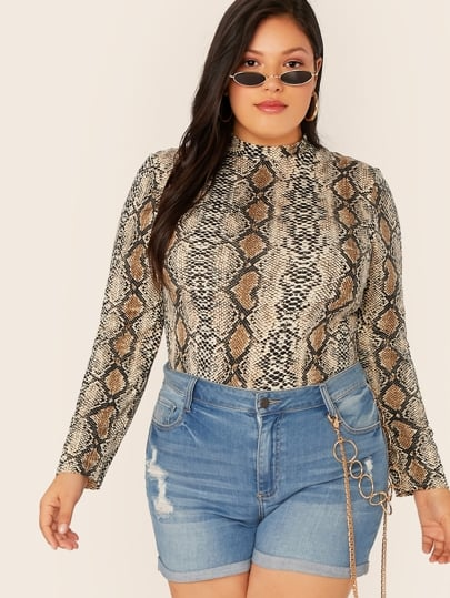 Shein Plus Snakeskin Print Mock-neck Top