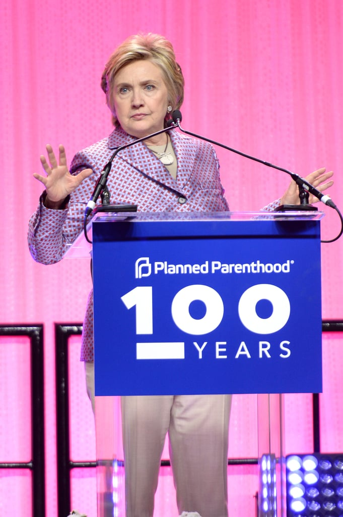 Wearing a purple checkered blazer at Planned Parenthood's 100th anniversary gala.