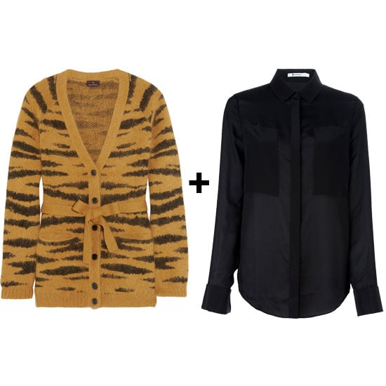 We love the idea of pairing this cozy angora sweater with a sheer black blouse for an evening-appropriate pairing.  Mulberry Tiger Print Angora Cardigan ($670) T by Alexander Wang Sheer Blouse ($319)