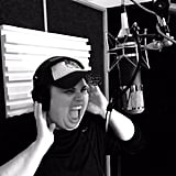 Wilson showed off her vocal skills in the recording booth. Source: Twitter user RebelWilson