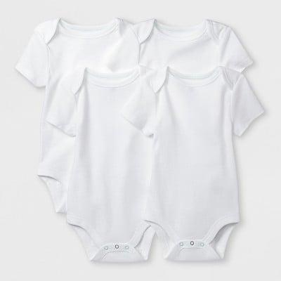 Cloud Island White Baby Boys' Basic 4pk Short Sleeve Bodysuit