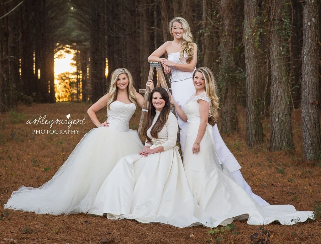 Sisters wear their old wedding dresses for photo popsugar moms sisters take epic wedding dress photo as a thank you to their single mom junglespirit