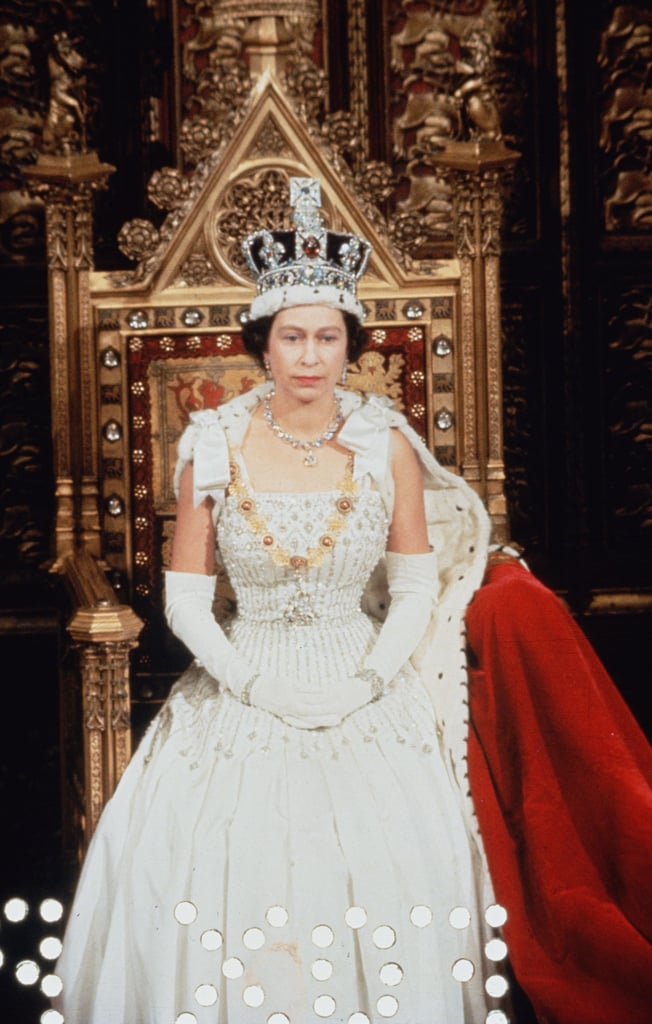 Queen Elizabeth II Wearing the Gown Designed by Norman Hartnell