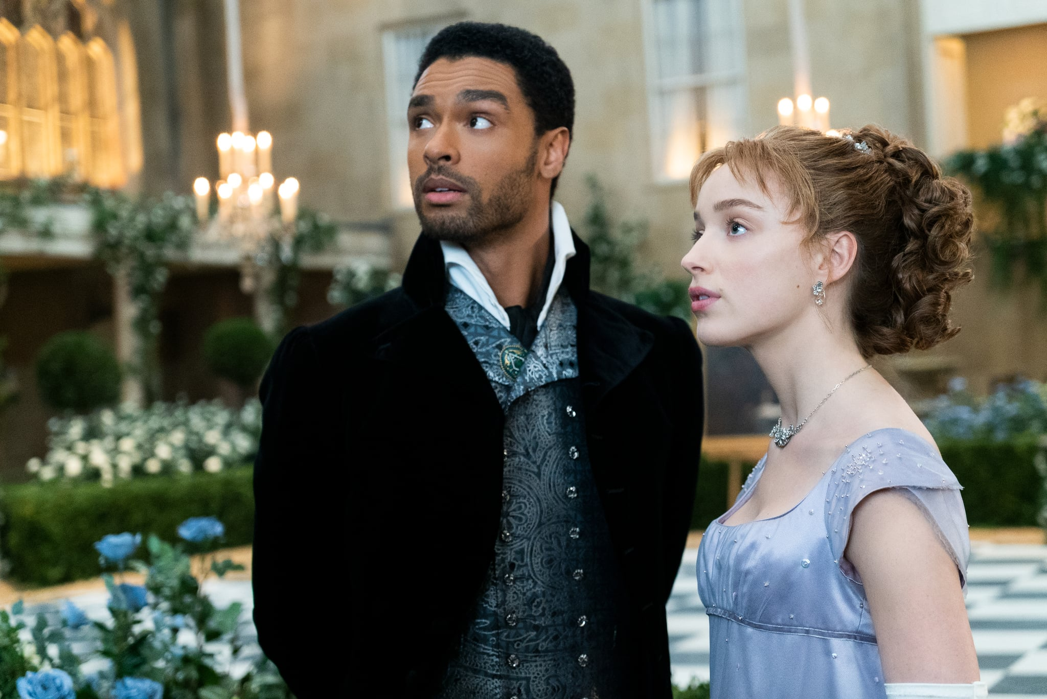 BRIDGERTON (L to R) REG-JEAN PAGE as SIMON BASSET and PHOEBE DYNEVOR as DAPHNE BRIDGERTON in episode 108 of BRIDGERTON Cr. LIAM DANIEL/NETFLIX  2020